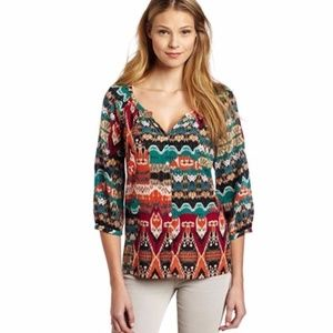 Lucky Brand Alexis Peasant Blouse M Sheer Ikat